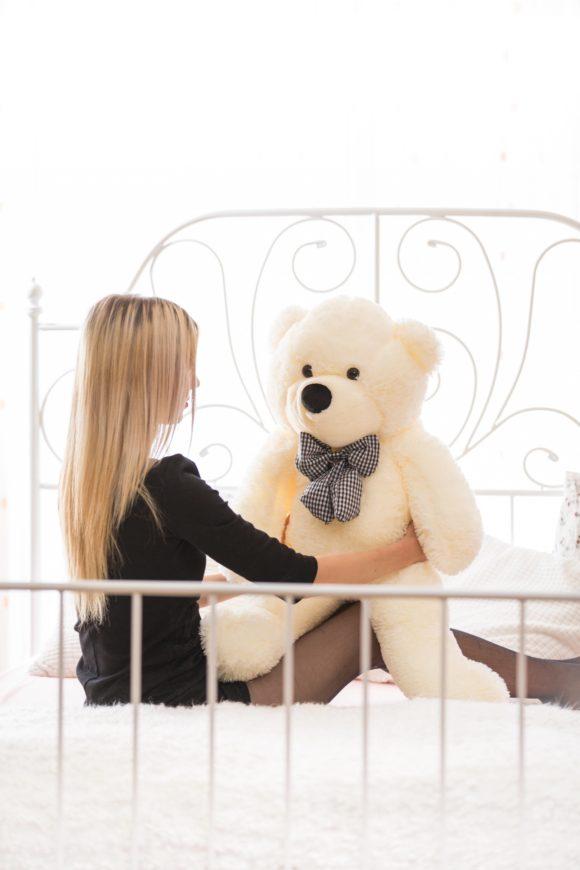 Plyšový medvěd 100cm - BÍLÝ