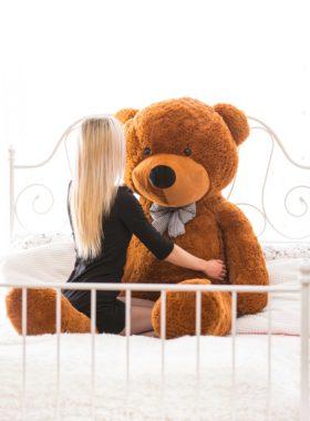 Velký plyšový medvěd 200 cm - TMAVĚ HNĚDÝ
