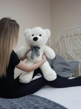 Plyšový medvěd 60cm - BÍLÝ