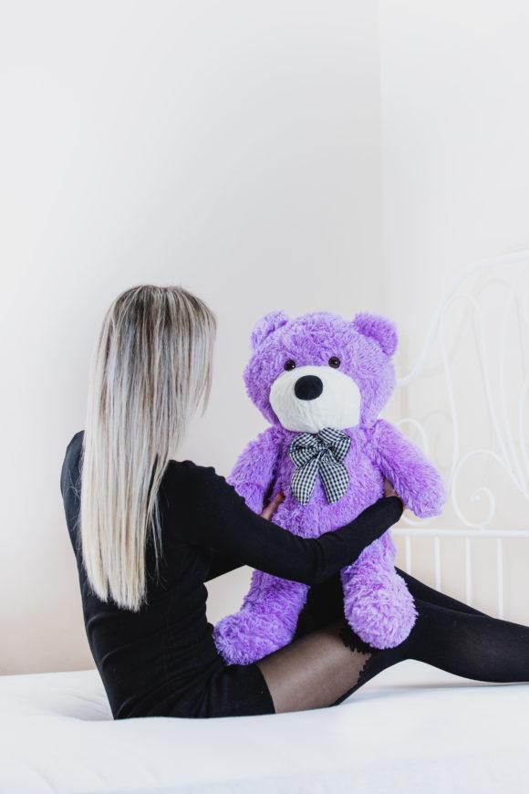 Plyšový medvěd 60 cm - FIALOVÝ