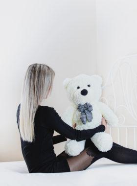 Plyšový medvěd 60 cm - BÍLÝ