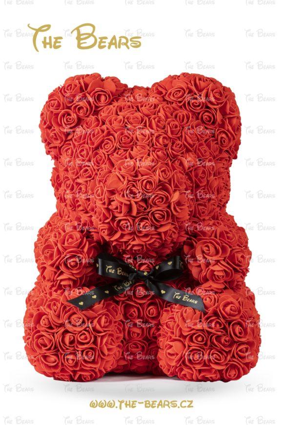 Medvěd z růží 40cm - červený
