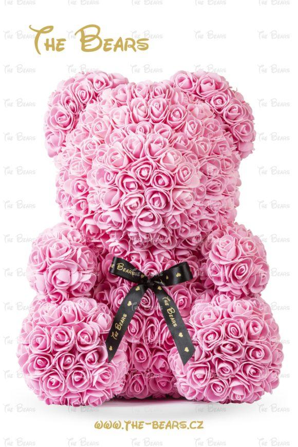 Medvěd z růží 40cm - růžový