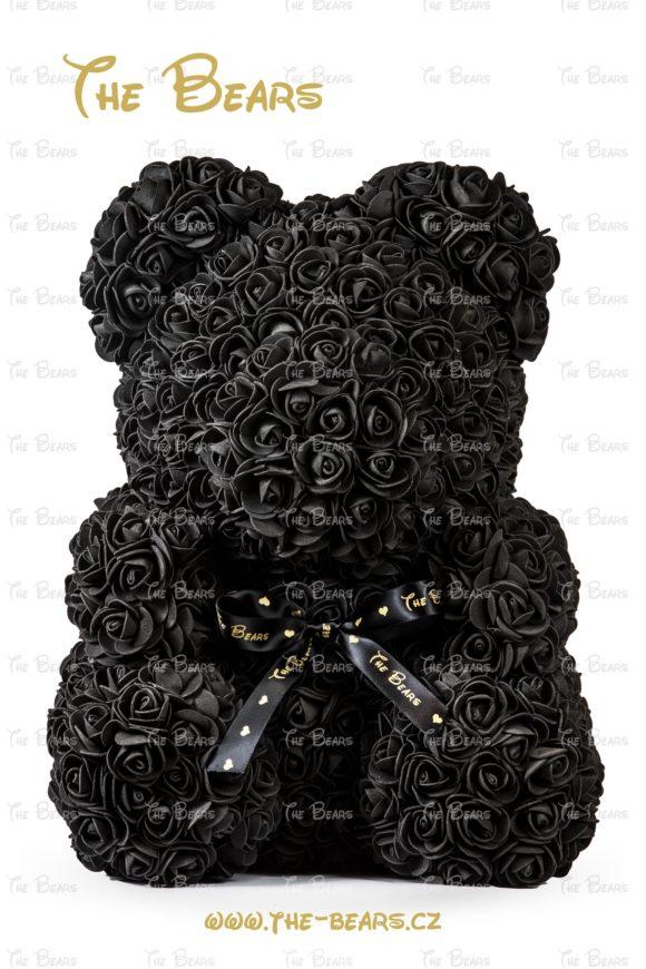 Medvěd z růží 40cm - černý