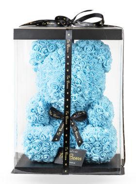 Medvěd z růží 40cm - modrý