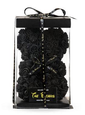 Medvěd z růží 25cm - černý