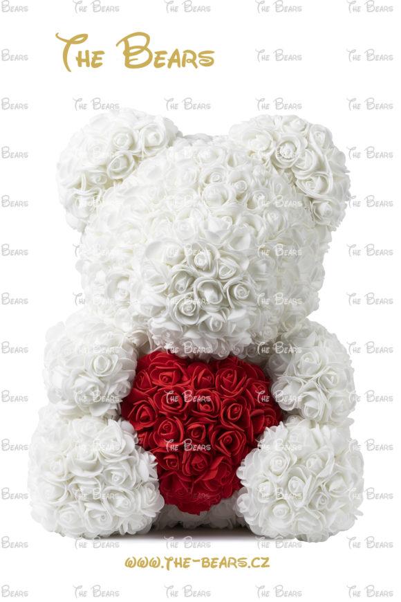 Medvěd z růží se srdcem 40cm - bílý