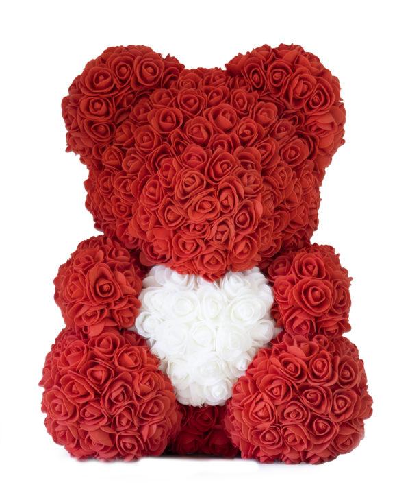 Medvěd z růží se srdcem 40cm – červený