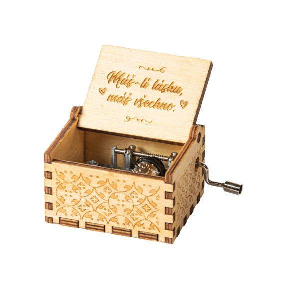 """Hrací skříňka """"Máš-li lásku, máš všechno"""" (svatební dar)"""