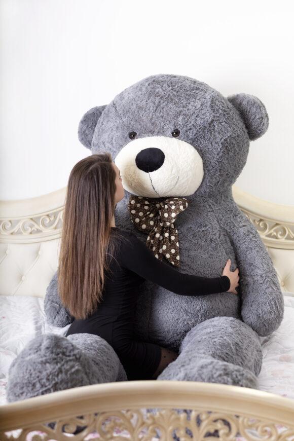 Velký plyšový medvěd 300 cm - ŠEDÝ s úsměvem