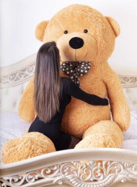 Velký plyšový medvěd 300 cm - SVĚTLE HNĚDÝ s úsměvem