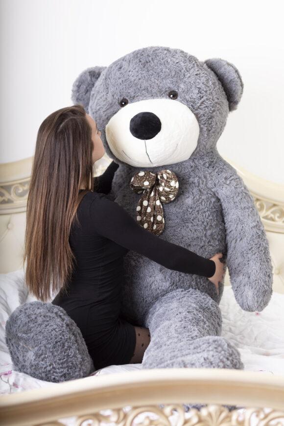 Velký plyšový medvěd 200 cm - ŠEDÝ s úsměvem