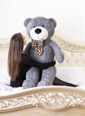 Velký plyšový medvěd 160 cm – ŠEDÝ s úsměvem