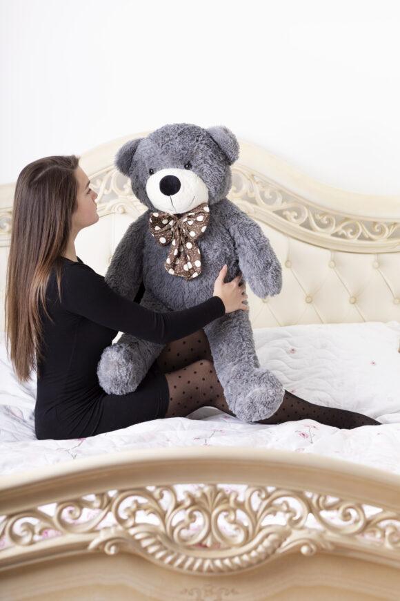 Plyšový medvěd 100 cm ŠEDÝ s úsměvem